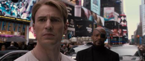 Stev Rogers in Times Square with Nick Fury (Captain America The First Avenger)